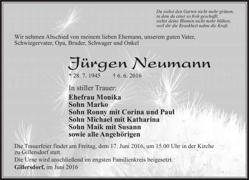 Traueranzeigen Von Jurgen Neumann Franken Gedenkt De