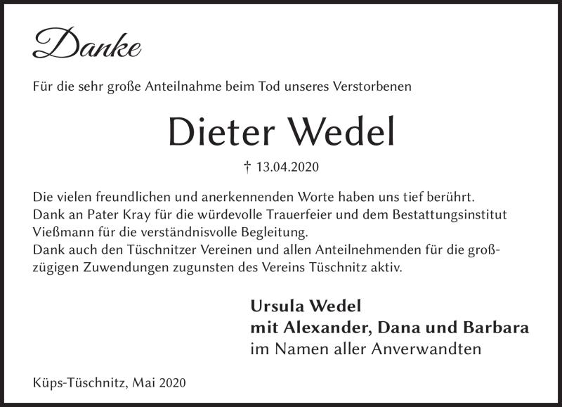 Traueranzeigen Von Dieter Wedel Franken Gedenkt De
